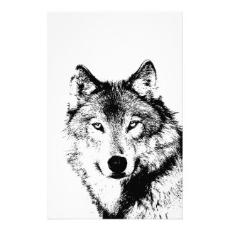 Black & White Wolf Stationery