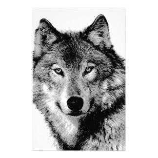 Black & White Wolf Stationery