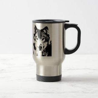 Black & White Wolf Travel Mugs