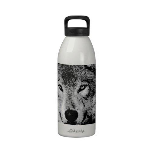 Black & White Wolf Water Bottle