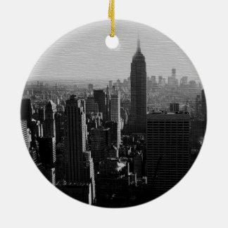 Black & White Wood Effect NYC Christmas Ornament