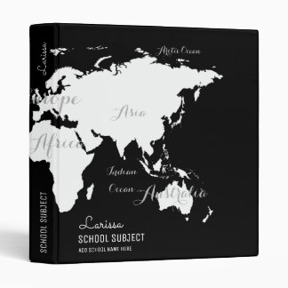 black&white world map binder for geography lessons