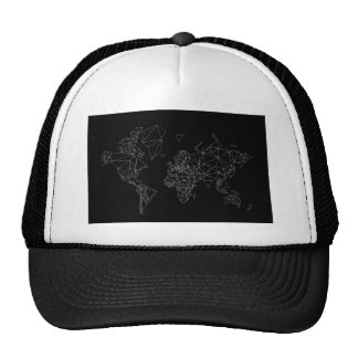 black white world map low poly polygon triangle trucker hat