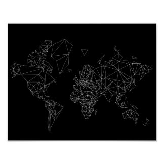 black white world map low poly polygon triangle poster