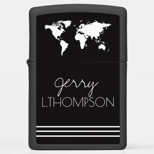 black white world map zippo lighter