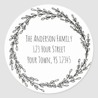 Black White Wreath Floral Address Classic Round Sticker