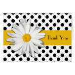Black White Yellow Daisy Polka Dots Thank You Card Greeting Cards