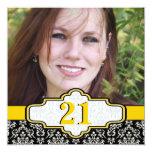 Black white yellow damask 21st birthday photo 5.25x5.25 square paper invitation card