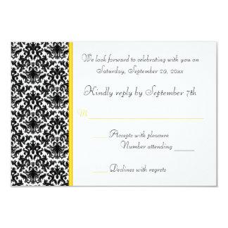 Black, White, Yellow Damask RSVP Card