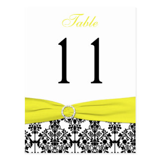 Black, White, Yellow Damask Table Number Card Post Cards