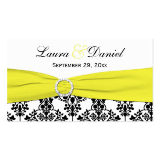 Black, White, Yellow Damask Wedding Favor Tag Business Card Template