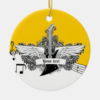 Black white yellow electric guitar with wings ceramic ornament
