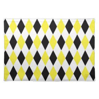 Black White Yellow Harlequin Diamond Pattern Cloth Placemat