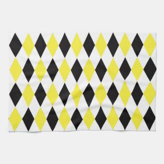Black White Yellow Harlequin Diamond Pattern Kitchen Towels