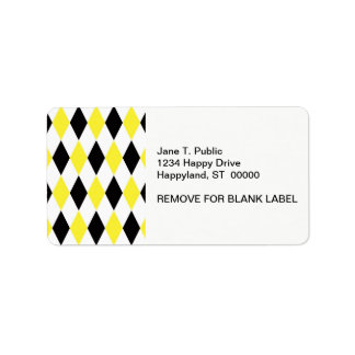 Black White Yellow Harlequin Diamond Pattern Personalized Address Labels