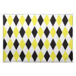 Black White Yellow Harlequin Diamond Pattern Place Mat