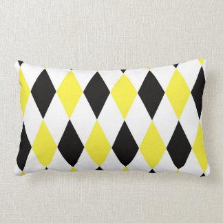 Black White Yellow Harlequin Diamond Pattern Throw Pillow