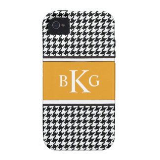 Black White Yellow Houndstooth Pattern iPhone 4 Cases