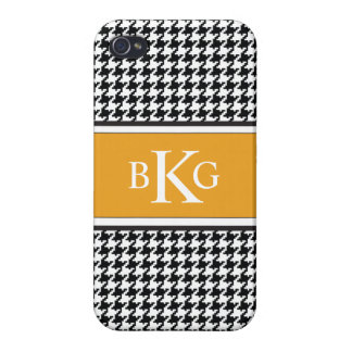Black White Yellow Houndstooth Pattern iPhone 4 Case