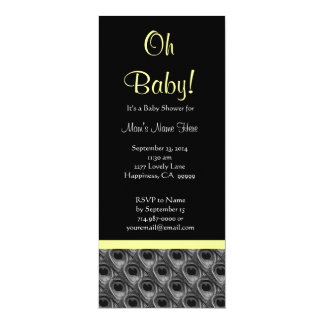 Black White Yellow Peacock Feathers Baby Shower Card