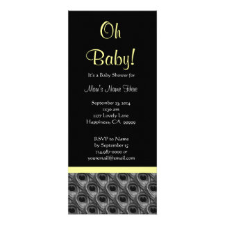 Black White Yellow Peacock Feathers Baby Shower Announcement