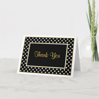 Black White Yellow Polka Dot Wedding Thank You Cards