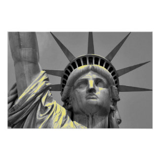 Black White Yellow Statue of Liberty New York Poster