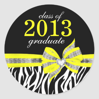 Black White Yellow Zebra Graduation Seal Sticker