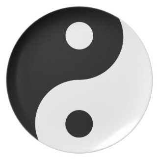 Black & White Yin & Yang Asian Art Designer Plate