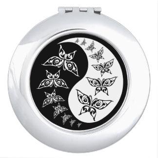 Black & White Yin Yang Tao Butterflies Design Vanity Mirror