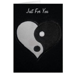 Black & White Ying Yang Heart Greeting Card
