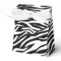 Black white zebra animal print wedding favor box