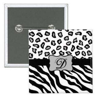 Black & White Zebra & Cheeta Skin Personalized Button