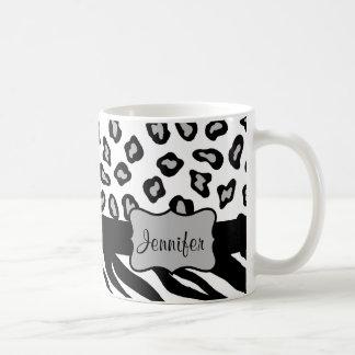 Black & White Zebra & Cheeta Skin Personalized Coffee Mug