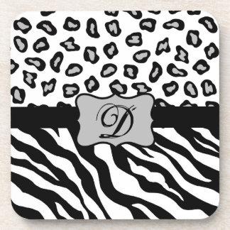 Black & White Zebra & Cheeta Skin Personalized Drink Coaster