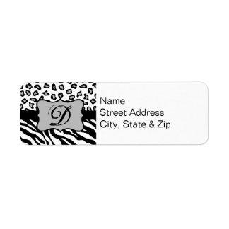 Black & White Zebra & Cheeta Skin Personalized Return Address Label