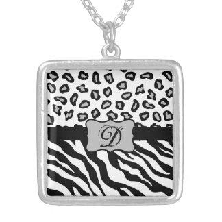 Black & White Zebra & Cheeta Skin Personalized Pendants