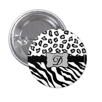 Black & White Zebra & Cheeta Skin Personalized Pinback Button