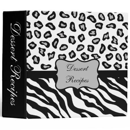 Black & White Zebra & Cheetah Skin Custom Recipe 3 Ring Binder