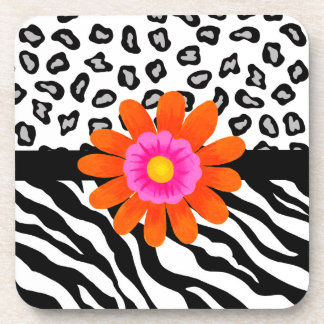 Black & White Zebra & Cheetah Skin & Orange Flower Beverage Coaster
