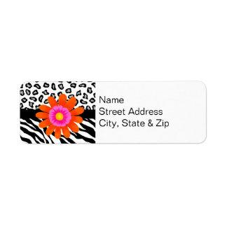 Black & White Zebra & Cheetah Skin & Orange Flower Label