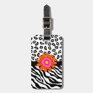 Black & White Zebra & Cheetah Skin & Orange Flower Tags For Bags