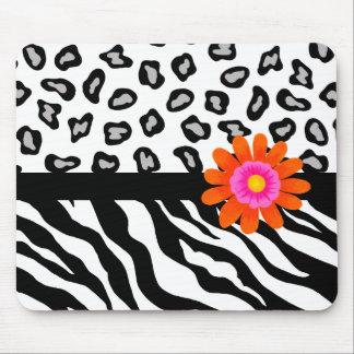 Black & White Zebra & Cheetah Skin & Orange Flower Mouse Pad