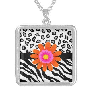 Black & White Zebra & Cheetah Skin & Orange Flower Silver Plated Necklace