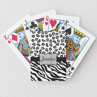 Black & White Zebra & Cheetah Skin Personalized Bicycle Playing Cards
