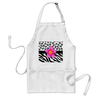 Black & White Zebra & Cheetah Skin & Pink Flower Apron