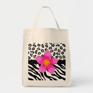 Black & White Zebra & Cheetah Skin & Pink Flower Tote Bag
