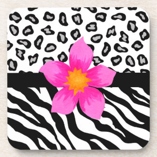Black & White Zebra & Cheetah Skin & Pink Flower Beverage Coaster