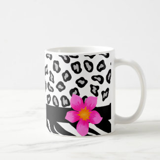 Black & White Zebra & Cheetah Skin & Pink Flower Classic White Coffee Mug