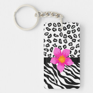 Black & White Zebra & Cheetah Skin & Pink Flower Double-Sided Rectangular Acrylic Keychain